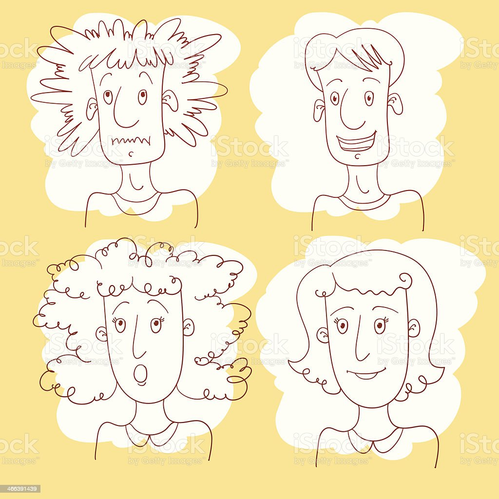 Shaggy And Brush Hair Doodle People. vector art illustration