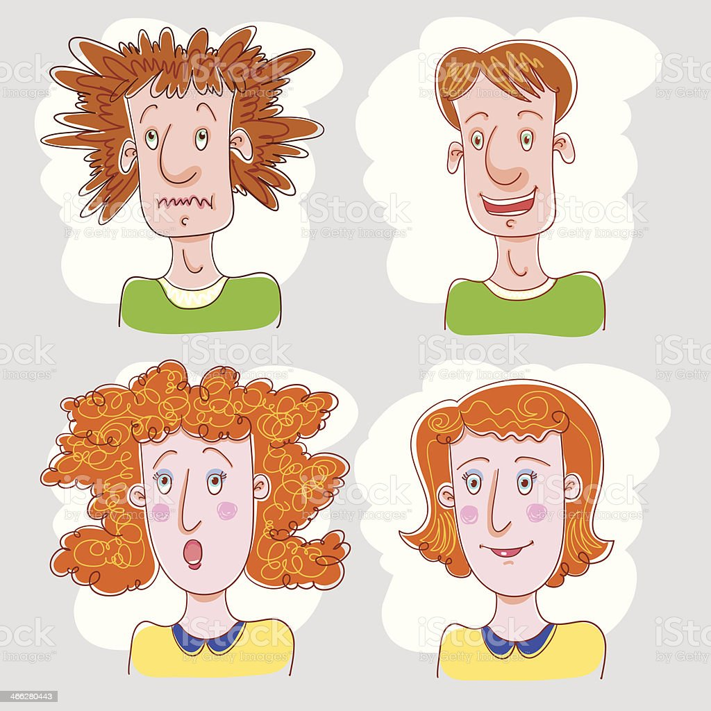 Shaggy And Brush Hair People. vector art illustration