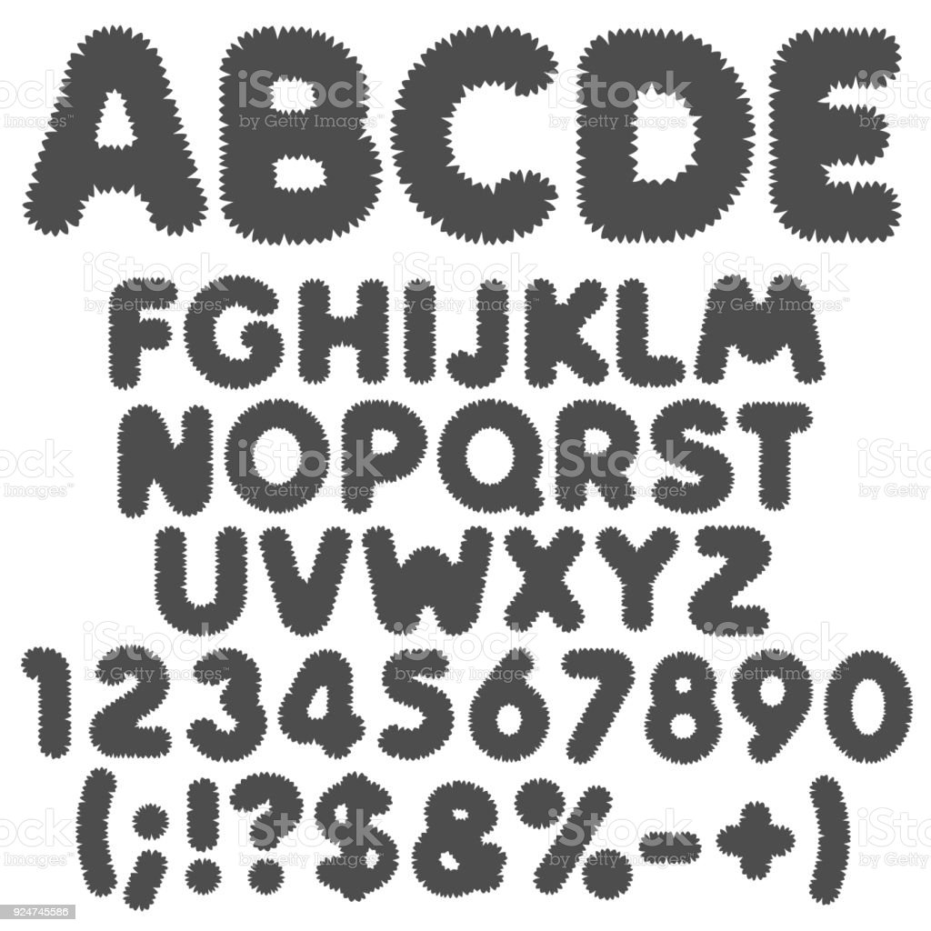 Shaggy black and white alphabet, letters, numbers and signs. Isolated vector objects. vector art illustration