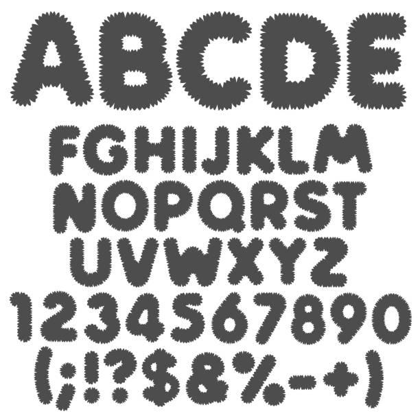 ilustrações, clipart, desenhos animados e ícones de salsicha preto e branco alfabeto, letras, números e sinais. objetos de vetor isoladas. - texturas de pelo de animal