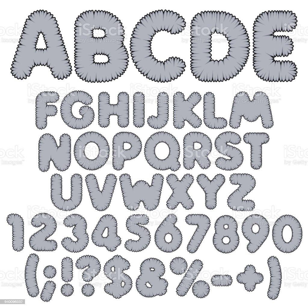Shaggy Farbe Alphabet Buchstaben Zahlen Und Zeichen Isolierte