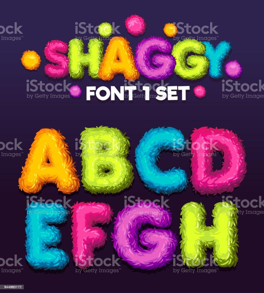 Shaggy font 1 set cartoon letters. vector art illustration
