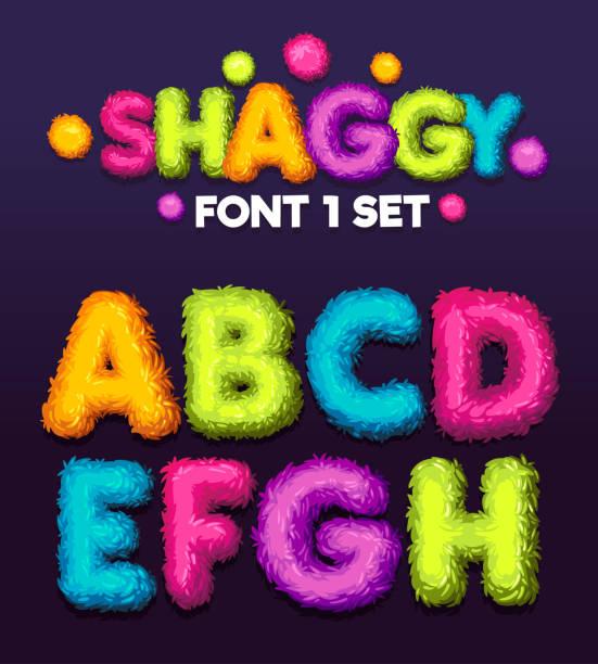 stockillustraties, clipart, cartoons en iconen met shaggy lettertype 1 set cartoon brieven. - dierenhaar