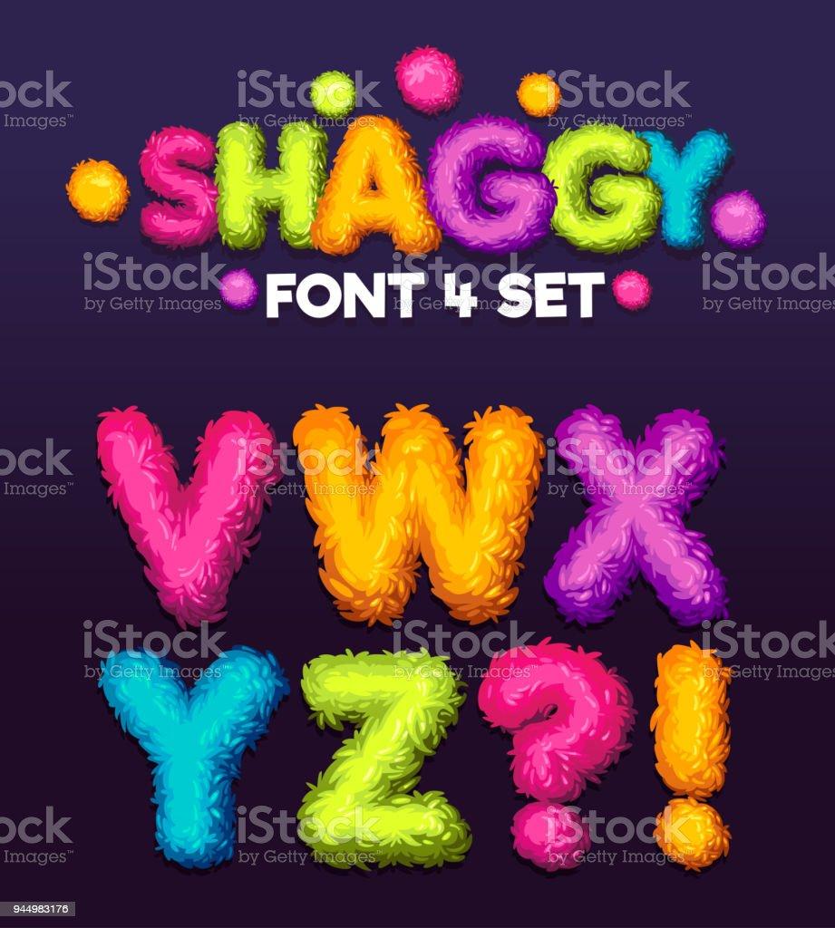 Shaggy font 4 set cartoon letters. vector art illustration