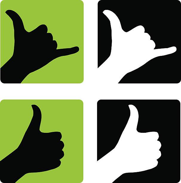 Shaka and Thumbs Up Hand Gestures vector art illustration