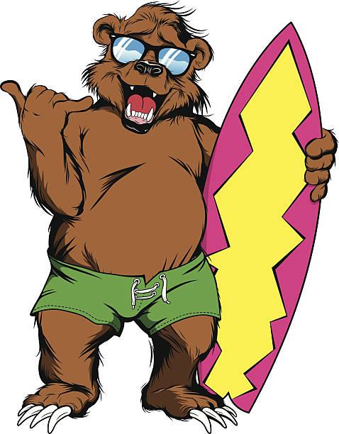 California Bear Surfing Clip Art Vector Images Illustrations