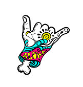 Shaka hand surf sign vector.Cartoon Hang Loose Hand Gestures.Surfing Waves.Hand drawn vector hand with bone.Zombie.Kitesurfing and windsurfing. Wakeboarding.