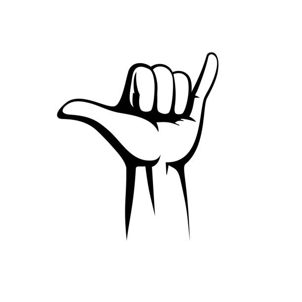 Shaka hand vector sign. Hang loose symbol vector art illustration