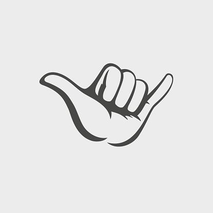 Shaka hand vector sign. Hang loose symbol