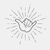 Shaka hand vector sign. Hang loose symbol.