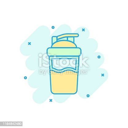 Shaker icon in comic style. Sport bottle vector cartoon illustration on white isolated background. Fitness container business concept splash effect.