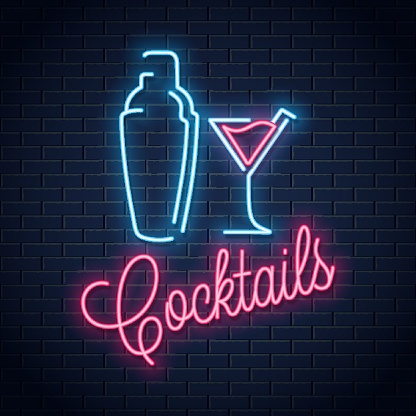 shaker neon logo. Cocktail party neon sign on wall vector background