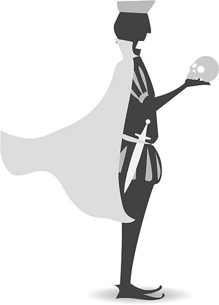 Hamlet silhueta de Shakespeare's - ilustração de arte em vetor