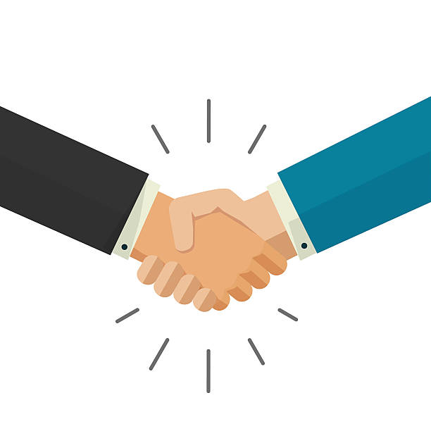 Shaking hands business vector illustration isolated on white background Shaking hands business vector illustration isolated on white background, symbol of success deal, happy partnership, greeting shake, handshaking agreement flat sign design shaking stock illustrations