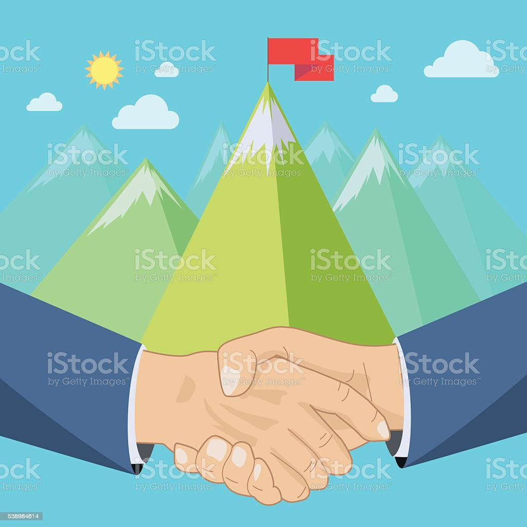 Shaking hands, mountains vector art illustration
