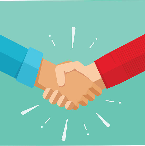 shaking hands vector illustration, agreement deal handshake, partnership friendship congratulations - el sıkışmak stock illustrations