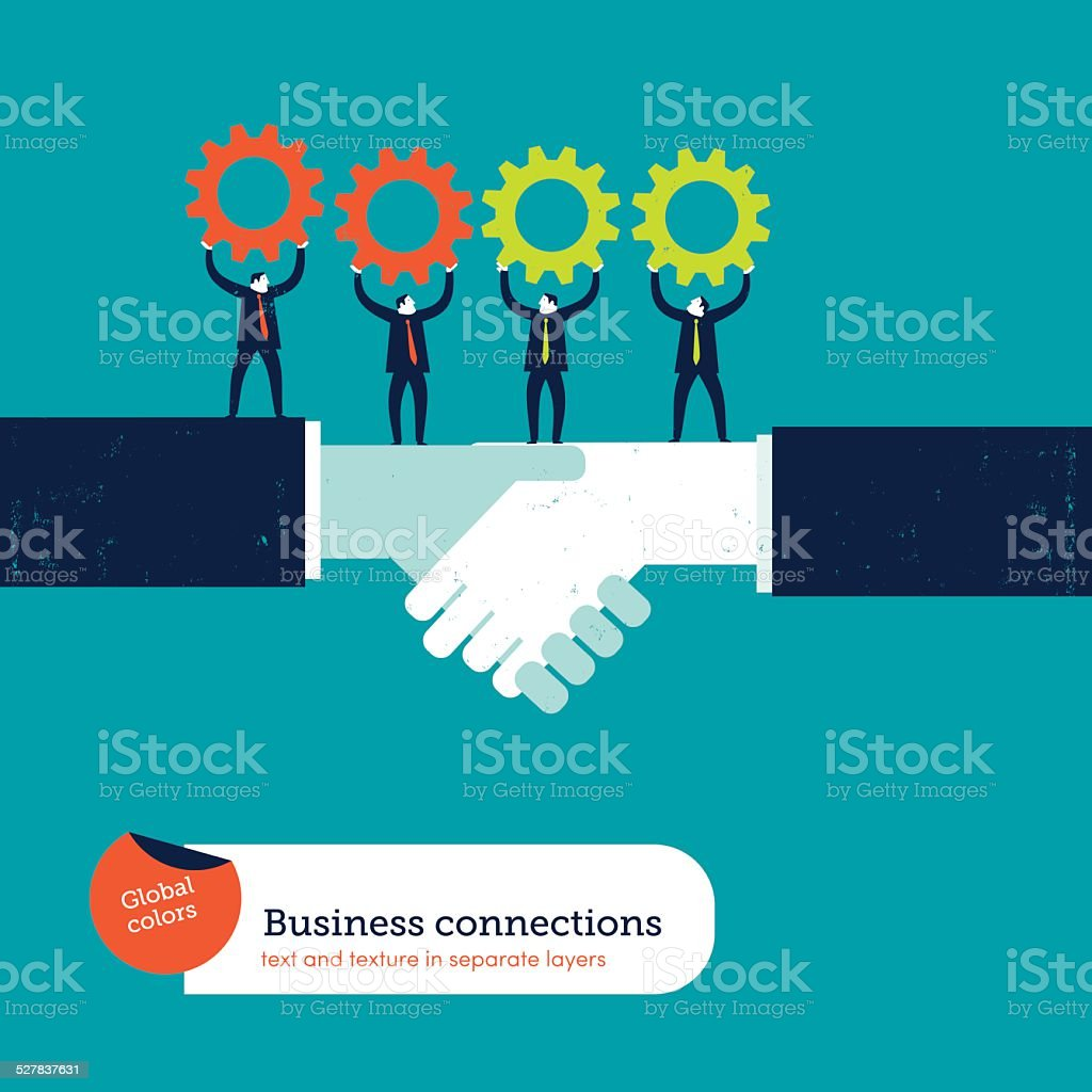 Shaking hands with businessmen and gears vector art illustration
