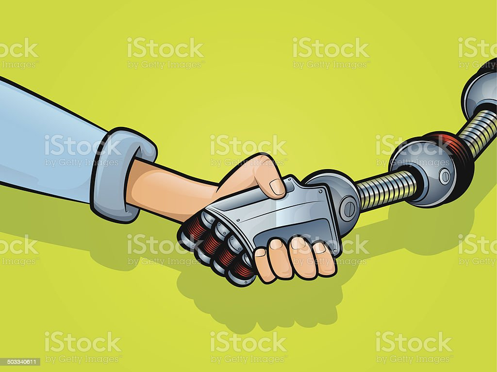 Shaking Hands with Technology vector art illustration