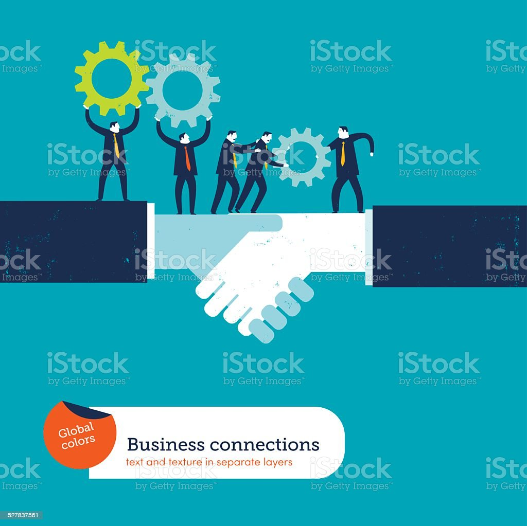 Shaking hands with two businessmen sharing gears vector art illustration