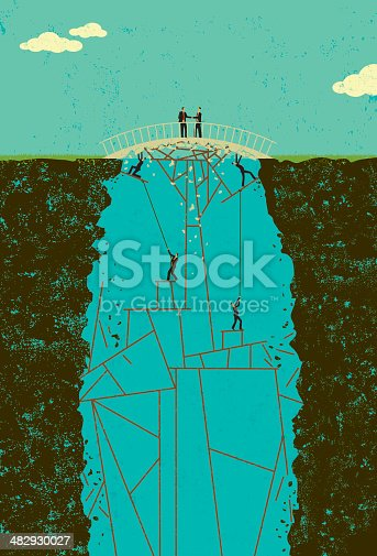 Two businessmen in a shaky business agreement. The employees under the bridge keep the deal from falling apart. The men and bridge, the men and structure under the bridge, the cliff walls, and background are on separately labeled layers.