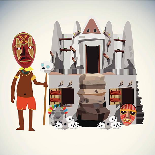shaman character and hut. - vector illustration - old man mask stock illustrations