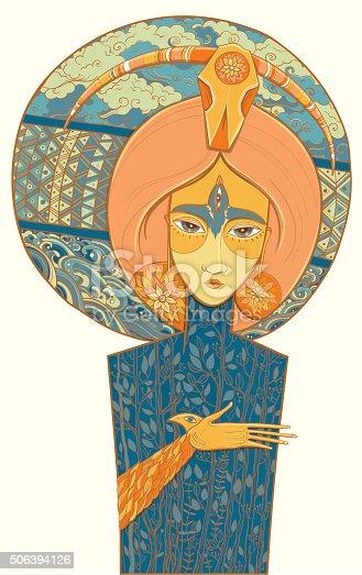 istock Shaman Goddess of birth and death. Vector illustration 506394126