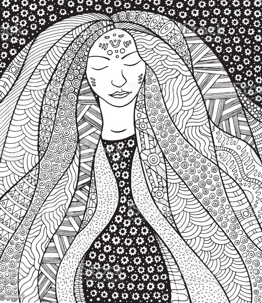 Shaman hippie girl with ornate hair. Allegory for Icelandic Aurora Borealis. векторная иллюстрация