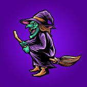 istock shaman magic Witchcraft Halloween Illustrations for merchandise apparel business 1273570140