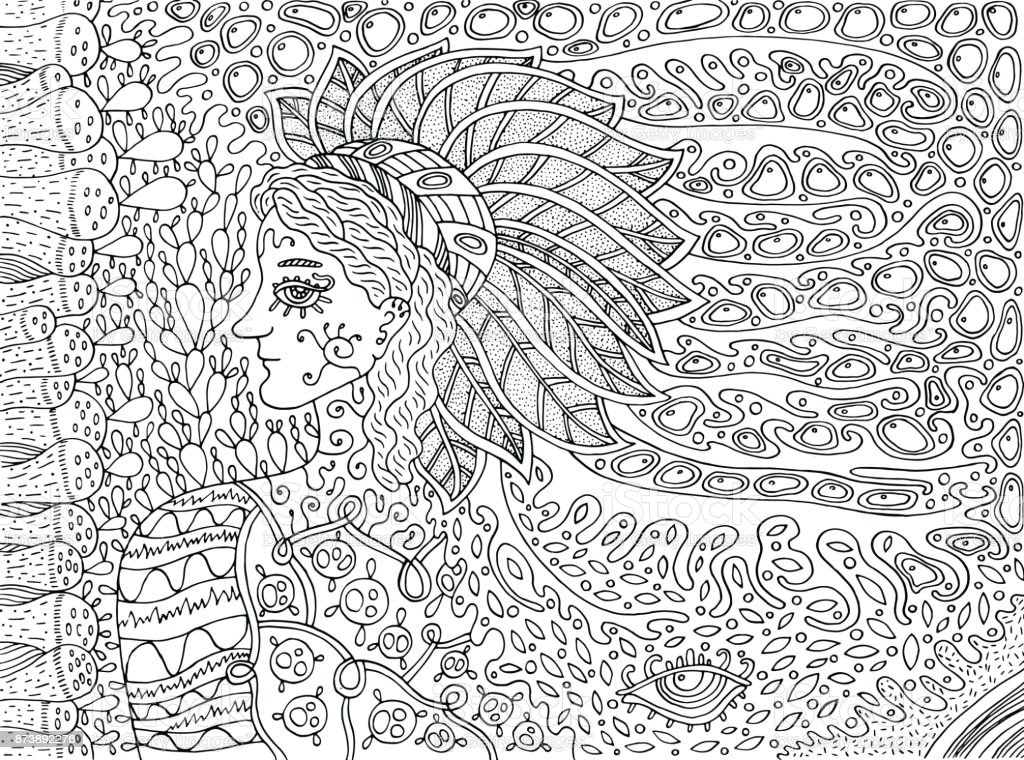 Ilustración de Espíritu Del Bosque Chamánica Doodle Dibujos Animados ...