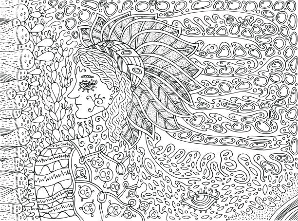 Shamanic forest spirit. Doodle cartoon coloring page for adults. Vector illustration. vector art illustration