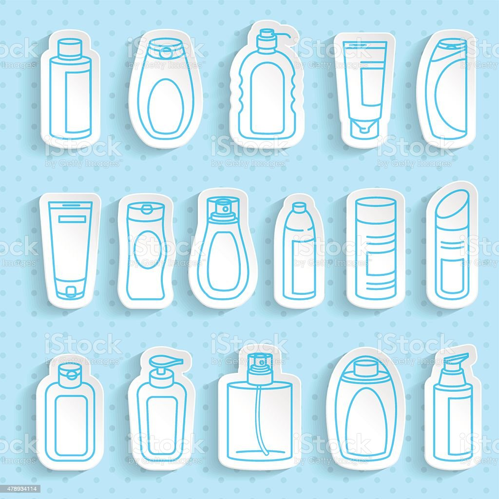 Shampoo And Bath Lotion Bottles Paper Stickers Set With Transpa ...