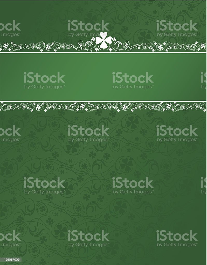Shamrock background with header stripe vector art illustration