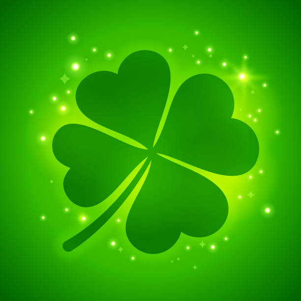 Shamrock Four Leaf Luck Clover Clover shamrock four leaved clover abstract. good luck charm stock illustrations
