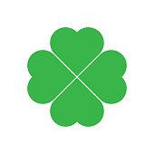 Shamrock - green four leaf clover icon. Good luck theme design element. Simple geometrical shape vector illustration