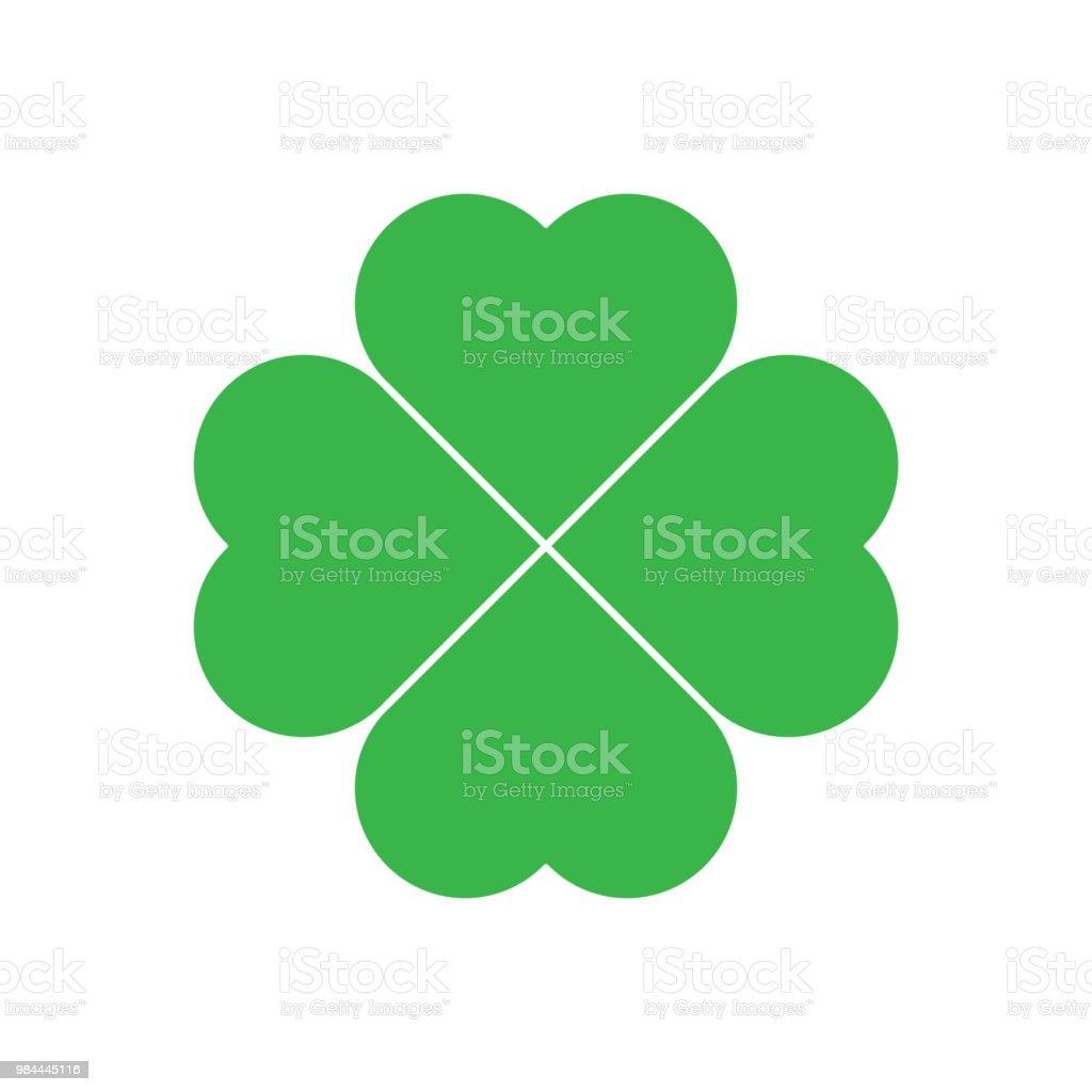 Ícone de trevo de quatro folhas trevo - verde. Elemento de design do tema boa sorte. Ilustração do vetor de forma geométrica simples - ilustração de arte em vetor