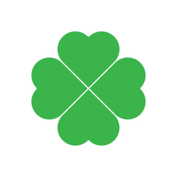 Shamrock - green four leaf clover icon. Good luck theme design element. Simple geometrical shape vector illustration Shamrock - green four leaf clover icon. Good luck theme design element. Simple geometrical shape vector illustration. shamrock stock illustrations