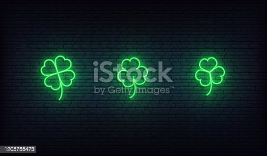 Shamrock neon icons. Set of green Irish clover icons for Saint Patrick's Day.