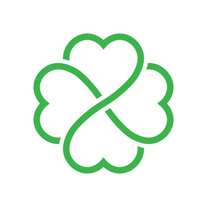 Shamrock silhouette - green outline four leaf clover icon. Good luck theme design element. Simple geometrical shape vector illustration