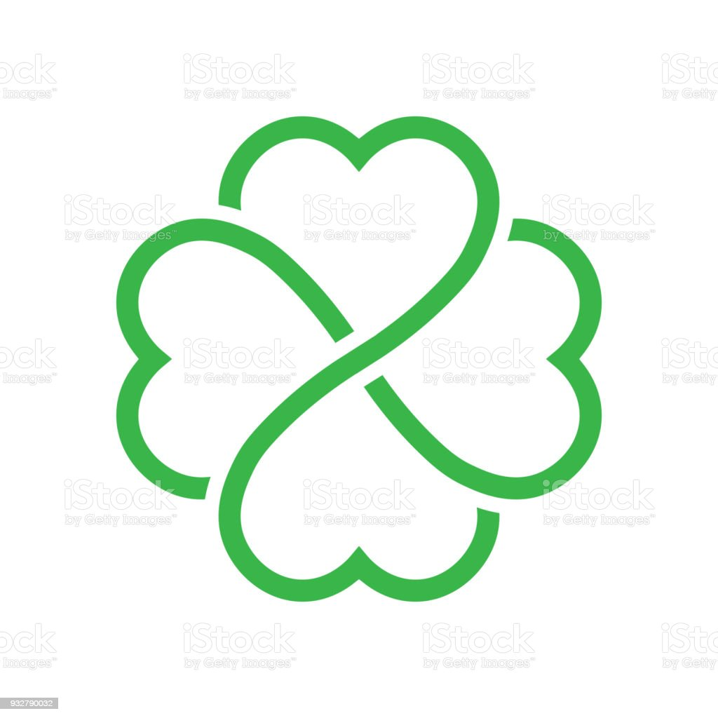 Shamrock silhouette - green outline four leaf clover icon. Good luck theme design element. Simple geometrical shape vector illustration vector art illustration