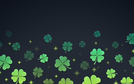 St. Patrick's Day four-leaf clover clover shamrock border pattern.