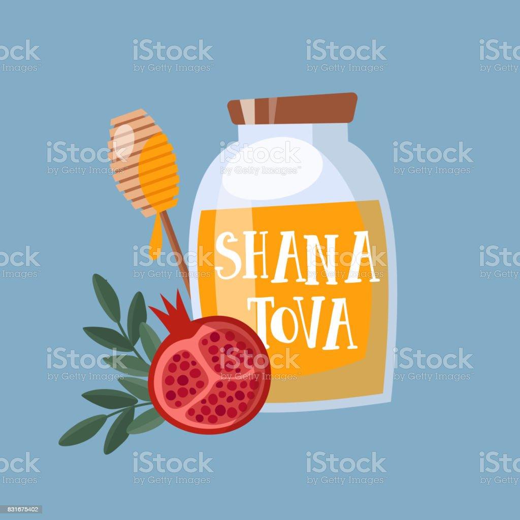 Shana Tova greeting card, invitation for Jewish New Year Rosh Hashanah. Mason jar with honey, and pomegranate fruit. Vector illustration background, flat design vector art illustration