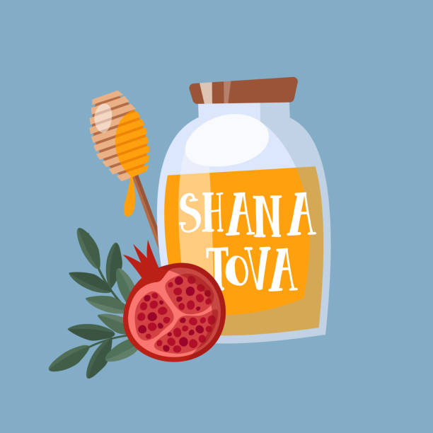shana tova greeting card, invitation for jewish new year rosh hashanah. mason jar with honey, and pomegranate fruit. vector illustration background, flat design - rosh hashana stock illustrations