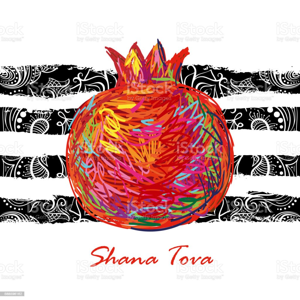 Shana Tova. Holiday celebration design vector art illustration