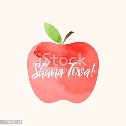 istock Shana Tova lettering on watercolor apple. Rosh Hashanah greeting card. Jewish New Year holiday. Vector 1175202443