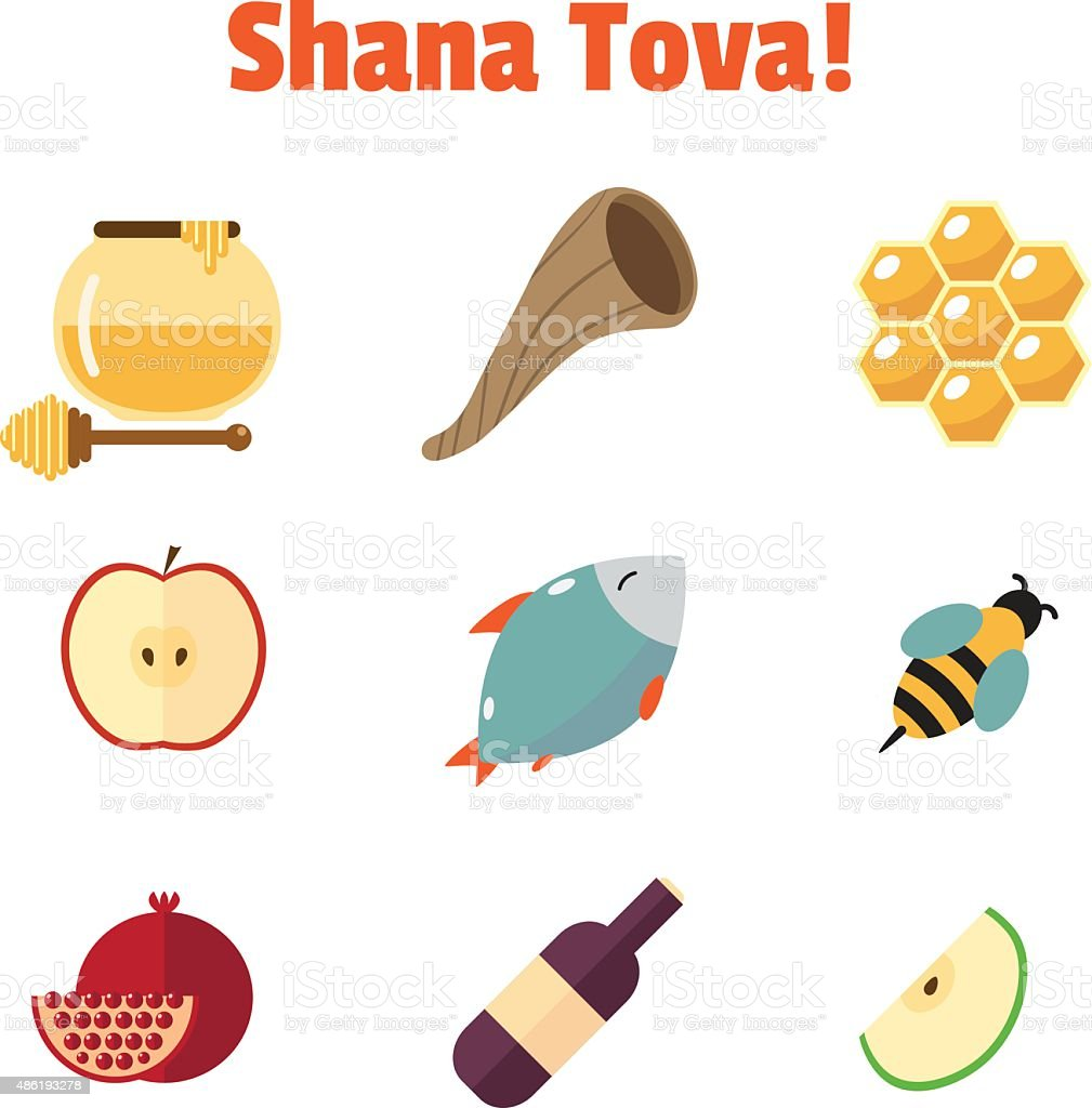 bee fish hebrew script holiday event symbol shana tova rosh hashanah jewish new year vector