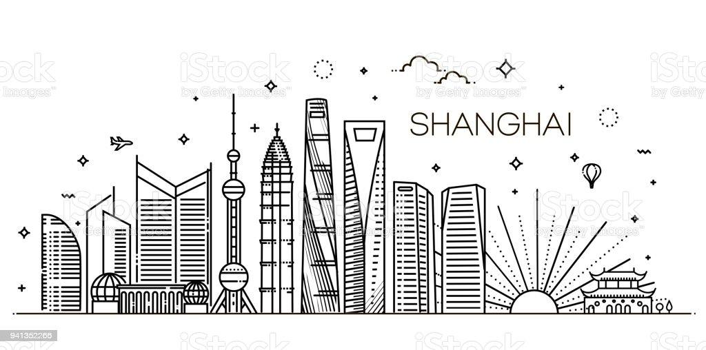 Shanghai-Architektur Linie Skyline Abbildung. Linearer Vektor Stadtbild mit berühmten Sehenswürdigkeiten – Vektorgrafik