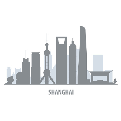 Shanghai city skyline - cityscape silhouette with landmarks