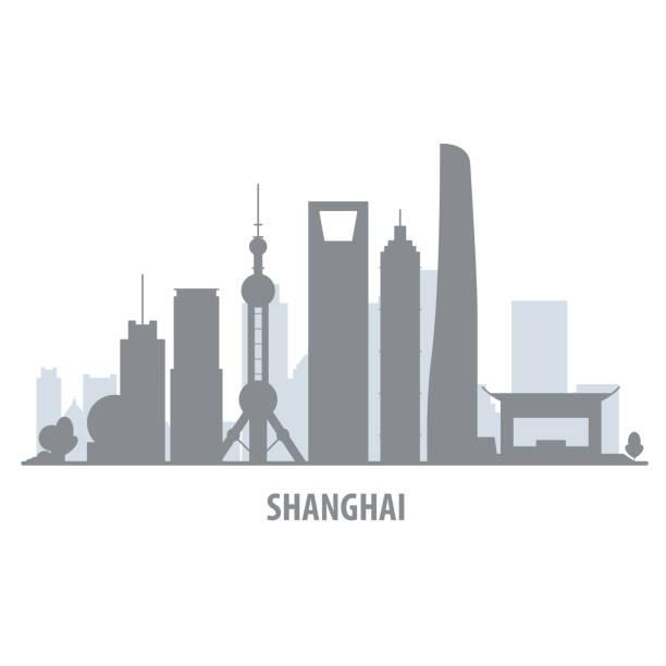 Shanghai city skyline - cityscape silhouette with landmarks Shanghai city skyline - cityscape silhouette with landmarks shanghai stock illustrations