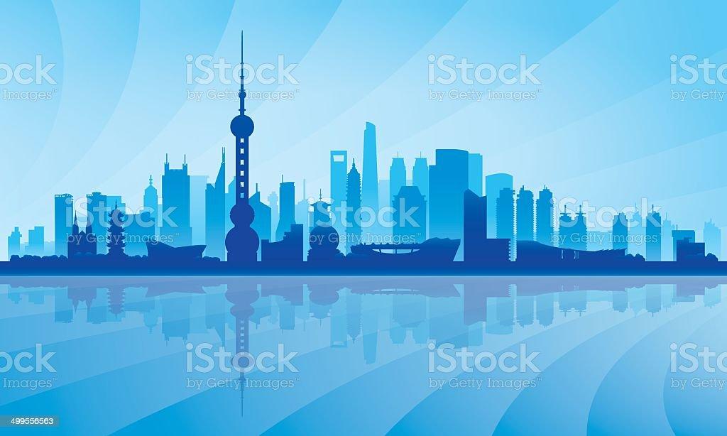 Shanghai city skyline silhouette background royalty-free stock vector art