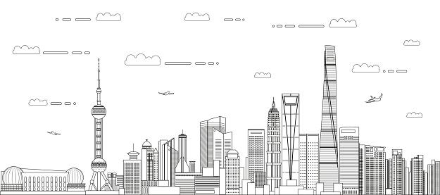 Shanghai cityscape line art style vector detailed illustration. Travel background